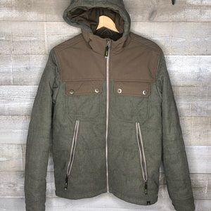 Prana green parka hooded mens zip up jacket